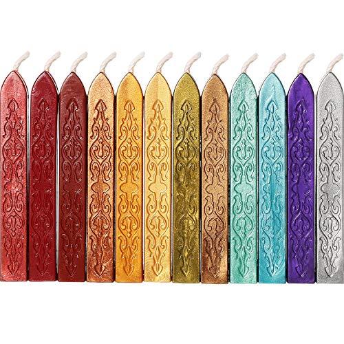 YIQI 12 Stücke Siegellack Sticks mit Dochte Antikes Feuer Manuskript Siegelwachs für Wachs Siegelstempel