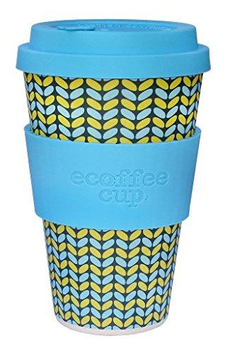 BIOZOYG Ecoffee Cups I Thermo koffiebeker bamboe met deksel van siliconen en siliconen manchet I drinkbeker melamine thee beker I koffie to go beker 400 ml