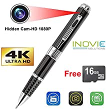 Inovics-Spy 4K Pen Camera with 1920px HD Video Audio Recording 12 Mega Pixel Lens Free 16 GB Memory Card For Long Time Recording Pen Camera Hidden No Light Flashes While Recording spy pen camera for home/shop/meeting