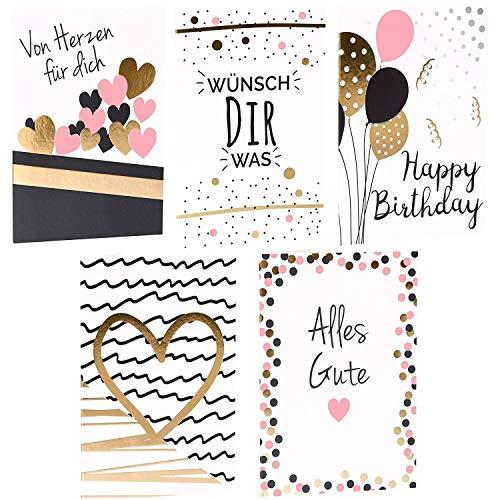 CUPCAKES & KISSES® Grußkarten 10er Sparset I Glückwunschkarte mit Briefumschlag I DIN A6 I für Geburtstag, Hochzeit, Baby, Konfirmation, Geburt, Feier
