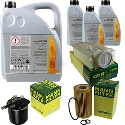 Filter Set Inspektionspaket 8 Liter Original Motoröl 5W-30 MB 229.51 MANN-FILTER Kraftstofffilter Luftfilter Ölfilter