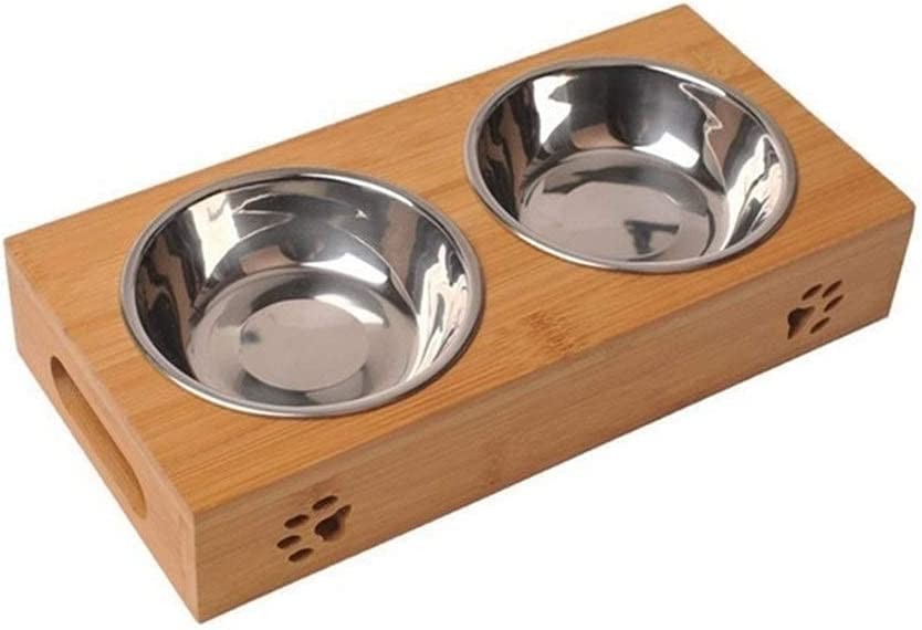 XHJTD Max 53% OFF Bowl Raised Pet Bowls for Cats Elevated and Quality inspection D Dogs Bamboo