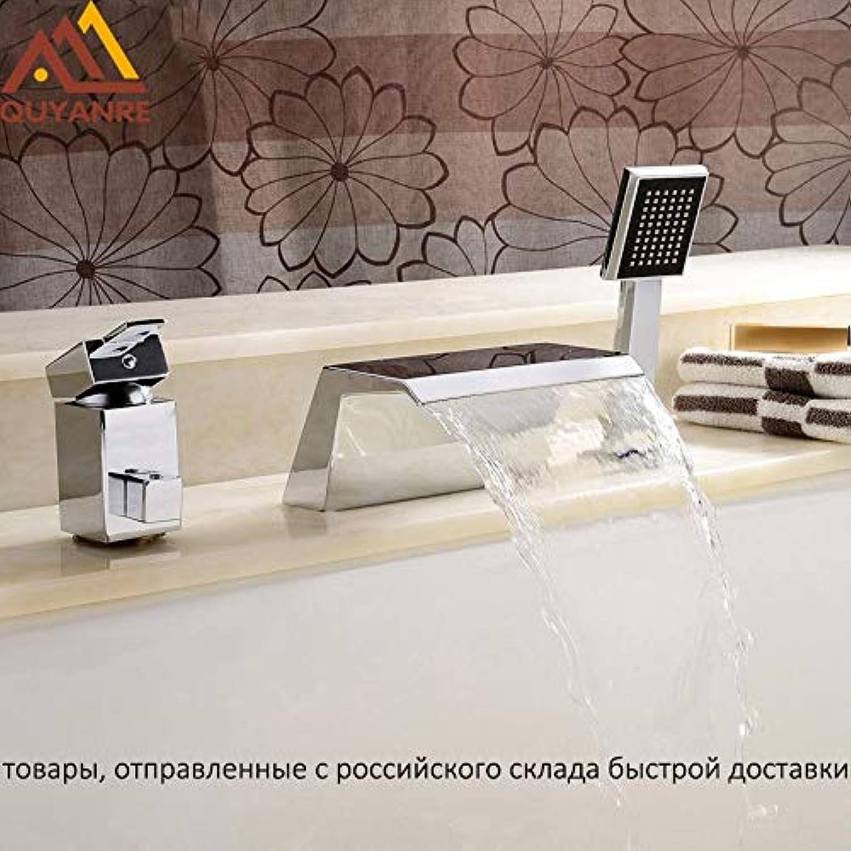 U-Enjoy Kronleuchter Versand Chrome Ru 3Pcs Krne Top-Qualitt Wasserfall Badewanne Spout 2-Wege-Einzel Mischer-Hahn-Badezimmer-Handgriff-Dusche-Hahn Kostenloser Versand