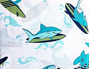 Authentic Kids 4 Piece Full Size Double Bed Sheet Set Green Blue Surfing Sharks Surfboards