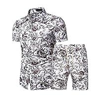 メンズ花カジュアルハワイアンシャツと短いスーツ、メンズ2ピーストラックスーツ花スウェットスーツカジュアル半袖シャツとショーツスーツセットスポーツ服 (Color : DC03 suit, Size : L)