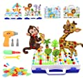 276PCS Creative Mosaic Drill Set Electric Drill Trendy Bits Puzzle Toy Assembly DIY Engineering Blocks Building Peg Board Set 3D Construction Building Blocks for 3+ Years Old Boys and Girls