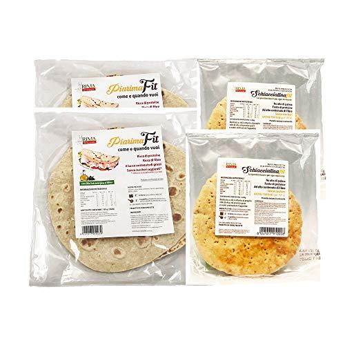2 Piadina Rima + 2 Schiacciatina Rima, piadina fit dietetica, low carb. basso contenuto di calorie, sostitutivo del pane