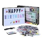 SHYOSUCCE Caja de Luz LED con 16 Cambios de Color, 4 Modos de Flash, 262 Letras y 85 Emojis, Cartel Luminoso A4 para Boda, Aniversario, Cumpleaños, Fiesta, Alimentado pour USB y Batería