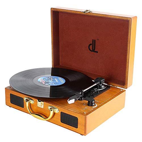 Plattenspieler, dl Record Player mit 3 Geschwindigkeiten 33/45/78 Tragbarer Vintage Holz Koffer Plattenspieler mit Stereo-Lautsprechern, PC-Recorder, 3.5mm,RCA/AUX Vinyl Turntable…