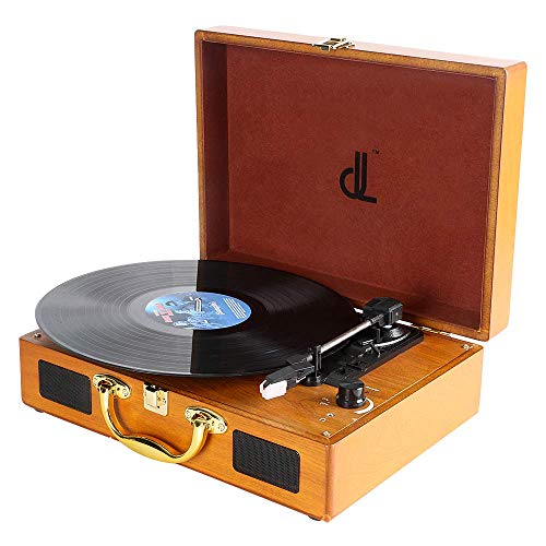 Plattenspieler dl Record Player mit 3 Geschwindigkeiten 33/45/78 Tragbarer Vintage Holz Koffer Plattenspieler mit Stereo-Lautsprechern, PC-Recorder, 3.5mm,RCA/AUX Vinyl Turntable…