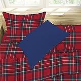Juego de sábanas para cama de una plaza y media, estampado escocés, kilt, rojo