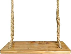 Aoneky Waterproof Wood Swing, Kids Children Tree Swing Seat, Adult Backyard Outdoor Replacement Rope Wooden Swing Set, Round 23
