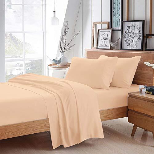 Juego de sábanas de algodón egipcio 100 % de 600 hilos, 4 piezas, tamaño de bolsillo de 38 cm de profundidad, fresco y transpirable, fácil de usar con calidad de hotel...