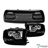 Topline Autopart Dual Headlamp Style Black Clear Housing Headlights Signal nb + Matte Black Big Horn Style Front Hood Bumper Grill Grille ABS with Shell For 10-18 Dodge Ram 2500/3500