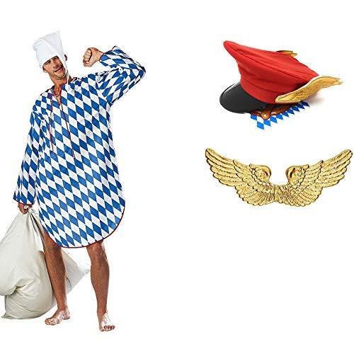 Panelize EIN Engel im Himmel Münchner Dienstmann Kostüm mit Flügeln Hut und Nachthemd (X-Large)