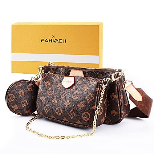 FAHIMEH Umhängetasche Damen kleine,Crossbody Bag Damen, Damen Schultertasche Handtasche Kleine Damen Fashion Gifts für Frauen 3 in 1 PU Leder Tragetaschen (Braun)