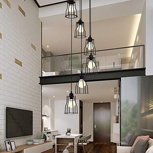 ZJJZ Pendant Light 6 Lights Chandelier LED E27, 30 * 150CM, Staircase Pendant Light Industrial Lamp Black, Duplex Building Floor Spiral Staircase Chandelier for Living Room, Wrought Iron Shade
