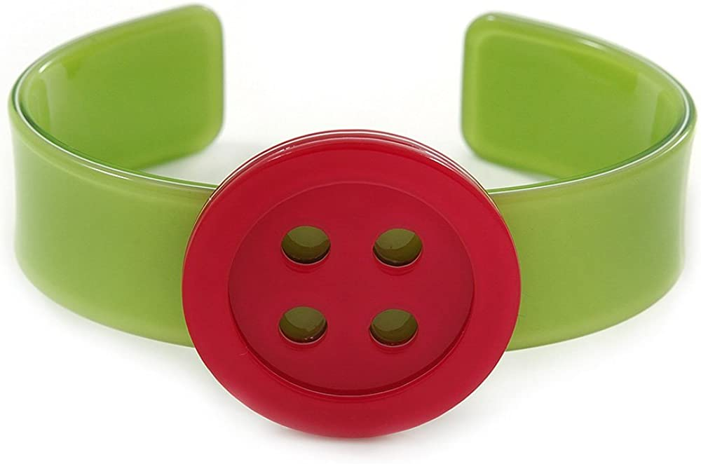 Avalaya Light Green, Magenta Acrylic Button Cuff Bracelet - 19cm L
