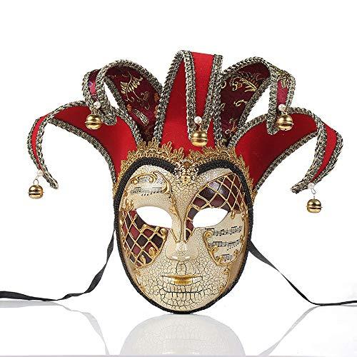 YCWY Mscaras de Venecia, Fiesta Hecha a Mano Vintage Mscara de Grietas Fiesta Veneciana Mardi Gras Disfraz Mascarada Mscara Joker Mascarada Mscara de Teatro,Red