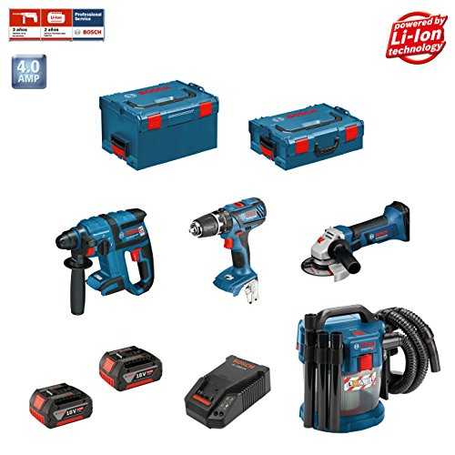 BOSCH Kit 18V PSL4M2 (GBH 18 V-EC + GSB 18-2-LI Plus + GWS 18-125 + GAS 18 V-10L + 2 x 4,0 Ah + AL1860CV + L-Boxx 136 + L-Boxx 238)