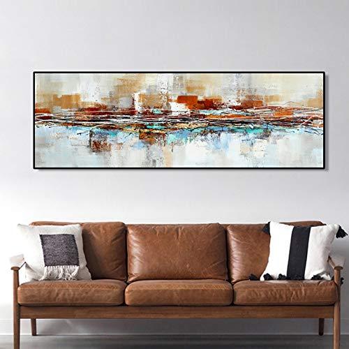 KWzEQ Los Carteles de Pintura al óleo Imprimen murales en la decoración de la Pared de la Pared de la Sala de Estar,Pintura sin Marco,45x135cm