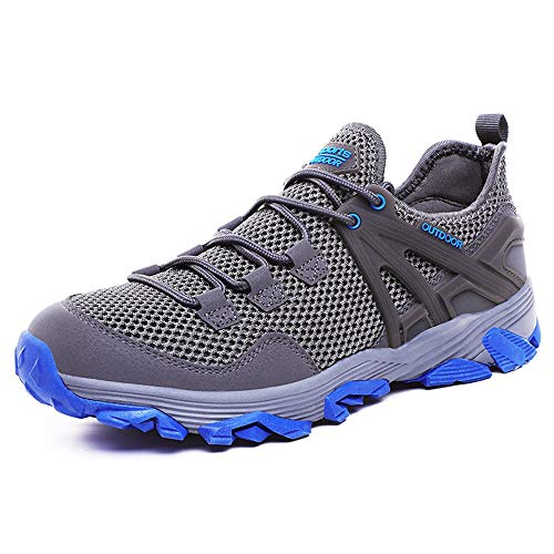 Idea Frames Men Hiking Shoes Lightweight Non-Slip Outdoor Sneaker for Walking Trekking Camping Trail Running Shoe Grey/Blue