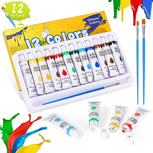 Acrylic Paint Set, Buluri Acrylic Paint 12 Colours x 12ml Tubes, 3 Paint Brushes, Paint Set Ideal for Canvas Wood Ceramic Fabric Perfect for Kids Adults Beginners Artists Painter Craft Projects
