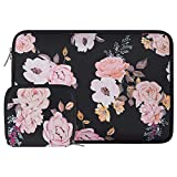 MOSISO Laptop Sleeve Compatible with 13-13.3 inch MacBook Pro, MacBook Air, Notebook Computer, Water Repellent Neoprene Pattern Bag with Small Case, Pink Peony