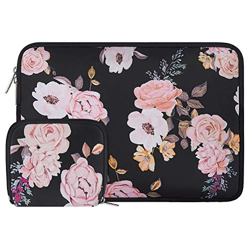 MOSISO Laptop Sleeve Compatible with 2018-2020 MacBook Air 13 inch A2179 A1932, 13 inch MacBook Pro A2251 A2289 A2159 A1989 A1706 A1708, Water Repellent Neoprene Peony Bag with Small Case
