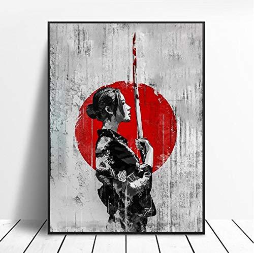 mohanshop Espadachín Japonés Samurai Lienzo Pintura Arte Impresión Cartel Imagen Pared Moderno Minimalista Dormitorio Sala De Estar Decoración 40X50Cm Sin Marco