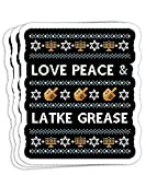 Funny Ugly Hanukkah Sweater Love Latke Grease 4x3 Decals Stickers for Laptop Window Car Bumper Helmet Water Bottle (Set of 3)