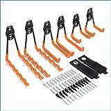 Synlyn 6 ganchos de pared ganchos dobles para trabajo pesado ganchos para dispositivos soporte de herramientas de montaje en pared de hierro para montaje en pared capacidad de carga-35 kg, naranja