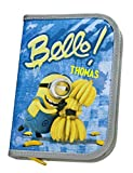 Federmappe mit Namen | inkl. NAMENSDRUCK | Motiv Minions & Bananen | für Jungen & Mädchen | Federmäppchen Federtasche | 30-teiliges Set Marken-STIFTE