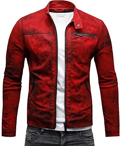 Crone Epic Herren Lederjacke Cleane Leichte Basic Jacke aus weichem Wildleder (S, Vintage Rot (Wildleder))