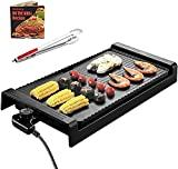 ZYLHC Smokeless Grill Indoor-Nonstick Indoor Barbeque Grill Griddle Extra Large,Family-Sized Pancake Griddles,Less Smoke, 5 Thermostat Modes,with Receipts,Black