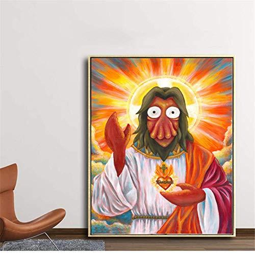 wzgsffs Futuramaes Zoidberges Jesuses Impresiones en Lienzo Pinturas para Sala de Estar Poster-50X60cmx1 Sin Marco