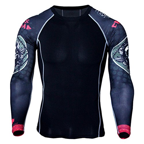 YiJee Uomo Asciugatura Veloce Tops Manica Lunga Tight T-Shirt Sports Fitness Training Compressione Come Immagine16 XL