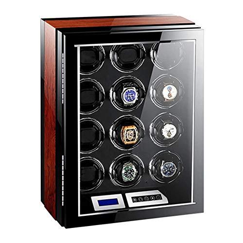 QCSMegy Caja enrolladora automática de Reloj 12 con Pantalla táctil LCD Luz LED Azul Control Remoto Almohadas Ajustables para Reloj 15 Accesorios de Modo de rotación