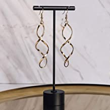 Metal Black Earring T Stand Jewelry Display for Show Retail T Bar Earring Holders Organizer Photography Props -1pc Round Base 5-3/10