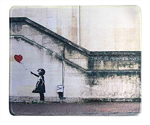 Kunst Mauspad - Naturkautschuk Mauspad w / Druck von Banksy Kunst gibt es immer Hoffnung und Mädchen mit Luftballons - genähte Grenze