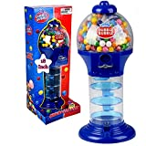PlayO 18' Big Spiral Gumball Machine Toy - Includes 113 Gum Balls - Coin Operated Bank Kids Dubble Bubble Twirling Style Candy Dispenser - Birthday Parties, Novelties, Party Favors and Supplies (Blue)