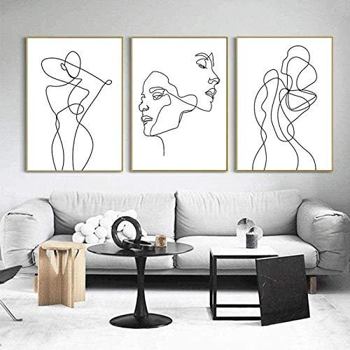 Baiser Dessin Au Trait sur Toile Tableau Visage Affiche Abstraite Femme Murale Art Minimaliste Peinture 3 PièCes Nordique Murale Tableaux Fille Chambre Decoration sans Cadre