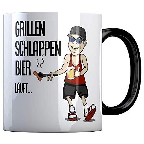 Tassenbude Tasse mit lustigem Spruch - grillen schlappen bier läuft - Griller/Grilljunkies/Büro/Job/Arbeit/Witzig/Kaffee-Tasse/Geschenk-Idee beidseitig bedruckt spülmaschinenfest