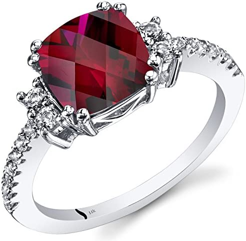 14K White Gold Created Ruby Ring Cushion Checkerboard Cut 3 00 Carats Size 9 product image