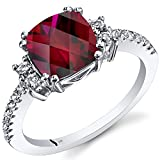 14K White Gold Created Ruby Ring Cushion Checkerboard Cut 3.00 Carats Size 7