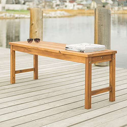 Walker Edison Furniture Company Solid Acacia Wood Patio Bench - Brown