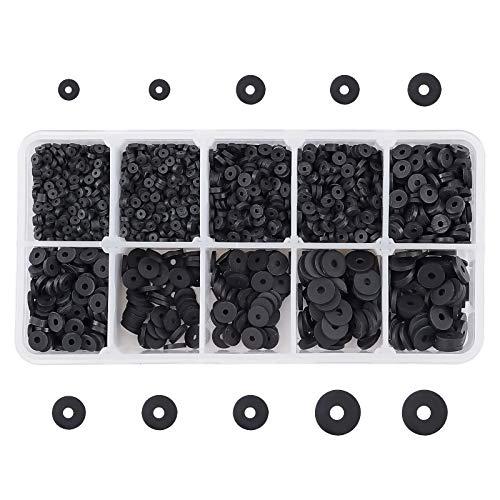 PandaHall Heishi - 3800 cuentas de disco de vinilo redondas planas hechas a mano de arcilla polimérica para pendientes, gargantilla, tobillera, collar, joyería, surfista de verano, color negro