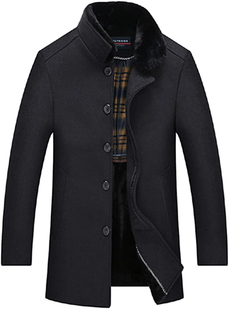 Men Wool Coat Thick Casual Coats Coffee Gray Woolen Jacket With Soft Collar