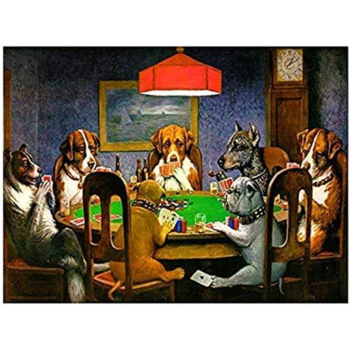 Wandkunst Leinwanddruck Wandkunst Dogs Playing Poker Ölgemälde Drucken Keine Gerahmten Tierbilder Wohnzimmer Poster 50cmx70cmx1 Kein Rahmen