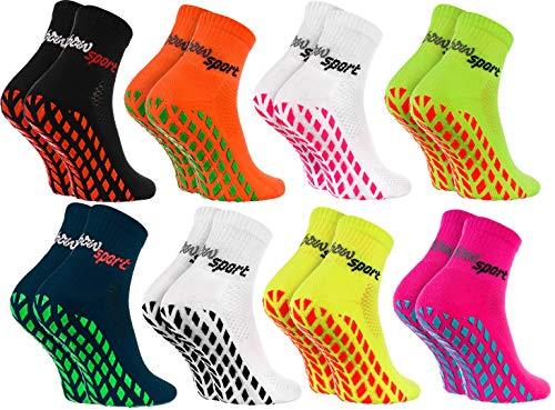 Rainbow Socks - Damen Herren Neon Sneaker Sport Stoppersocken - 8 Paar - Mehrfarbig - Größen 36-38